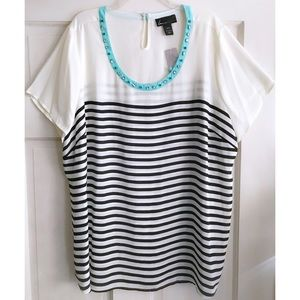 LANE BRYANT Embellished Neck Stripe Top